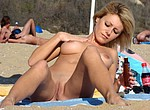 Beautiful nudist women taking sun baths on the nudist beach, spreading legs wide to make pussy tanned and get caught by voyeurists with cool cameras
